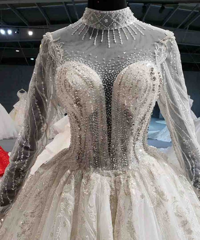 high neck illusion luxury lace wedding gowns