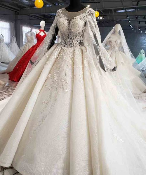 wedding dress with cape illusion o-neck sleeve