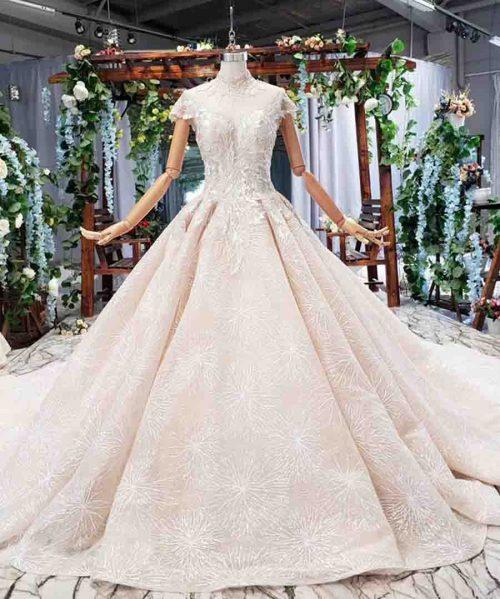 short sleeve floor length wedding dress