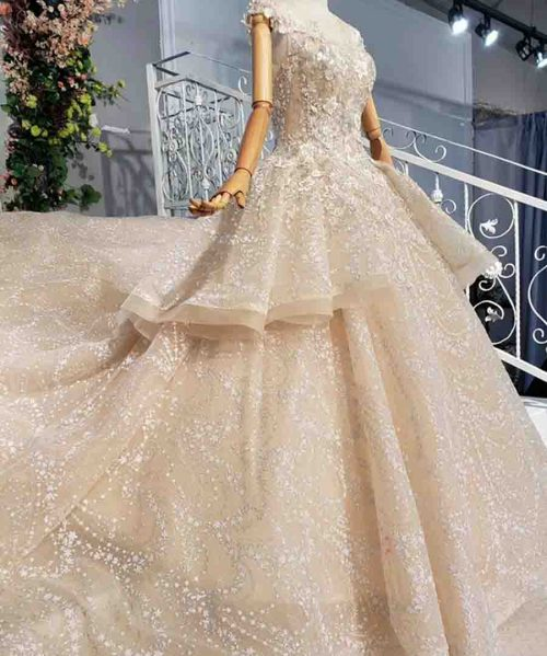 luxury wedding dress with cathedral train