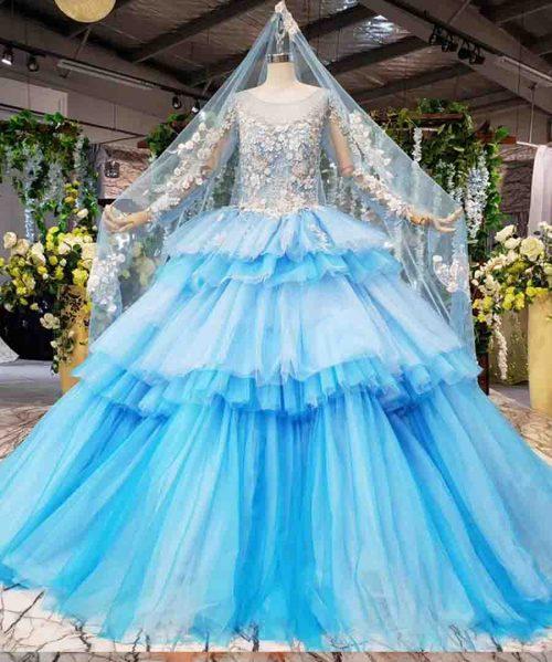 blue muslim wedding dresses