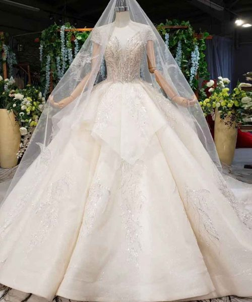 sexy beaded lace wedding dress with veil