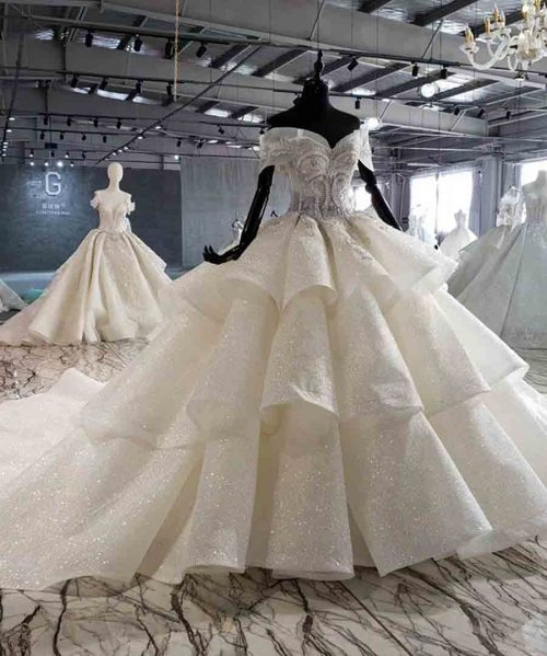shiny wedding dress ball gown bead crystal