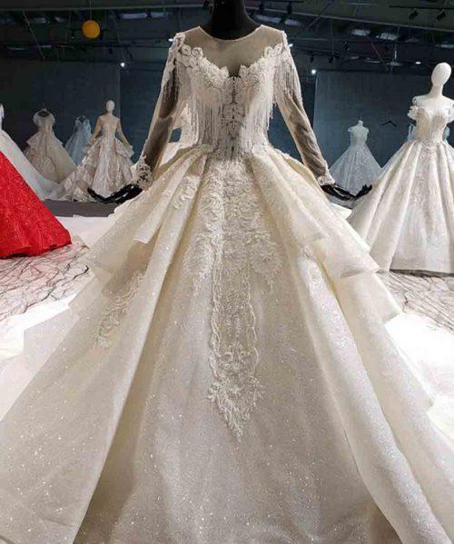 illusion back wedding dress 2020 long sleeve