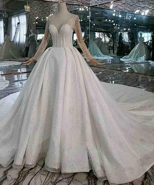 illusion long sleeves crystal bridal dress