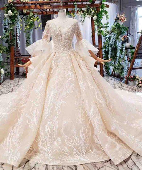 dubai luxury wedding dress with royal train