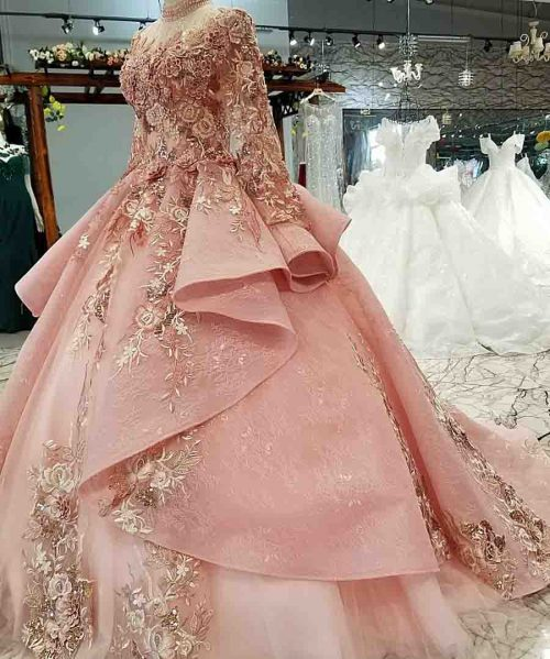 pink special dubai puffy party dresses