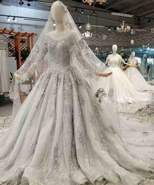 dubai mother of bride shiny grey dress