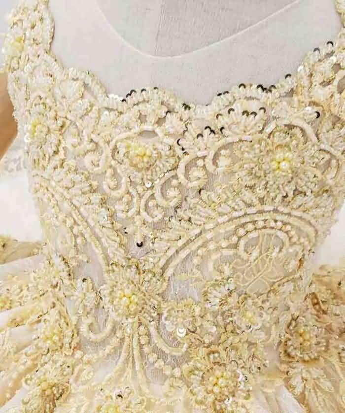 gold cap sleeve lace up girl flower dress