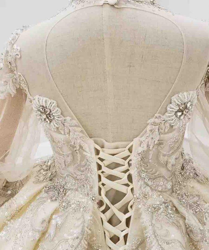 vintage long sleeve beaded girl flower dress