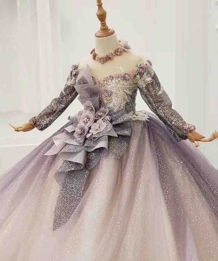 purple flower shiny girl flower dress