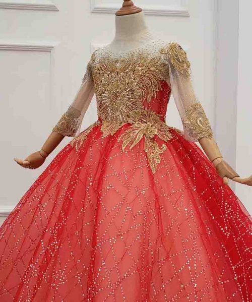 o-neck 3/4 sleeve shiny red girl dress