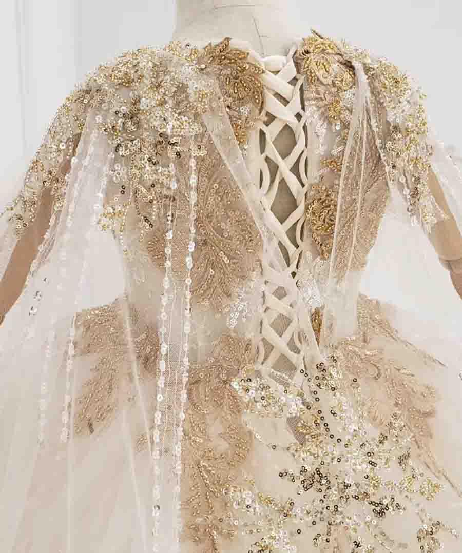 long sleeve gold girl dress with long shawl