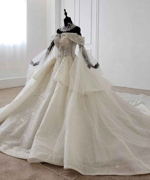 ball gown bride dress with collar