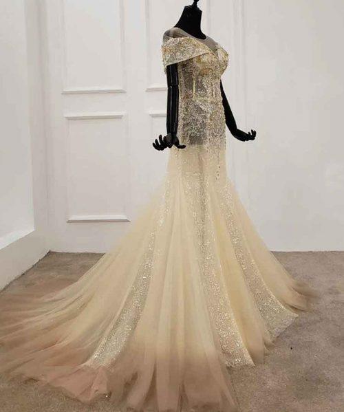 light o-neck tulle evening dress