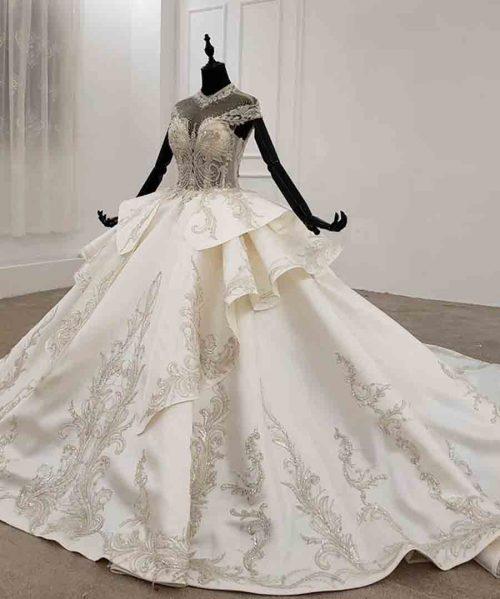 vintage pleat cap sleeve wedding dress