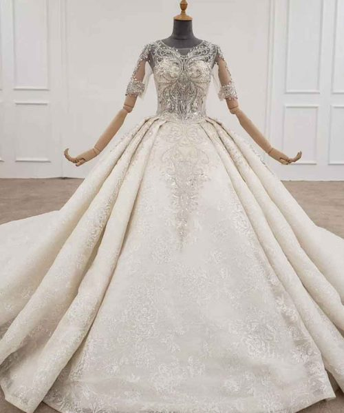 o-neck half sleeve vintage wedding dress