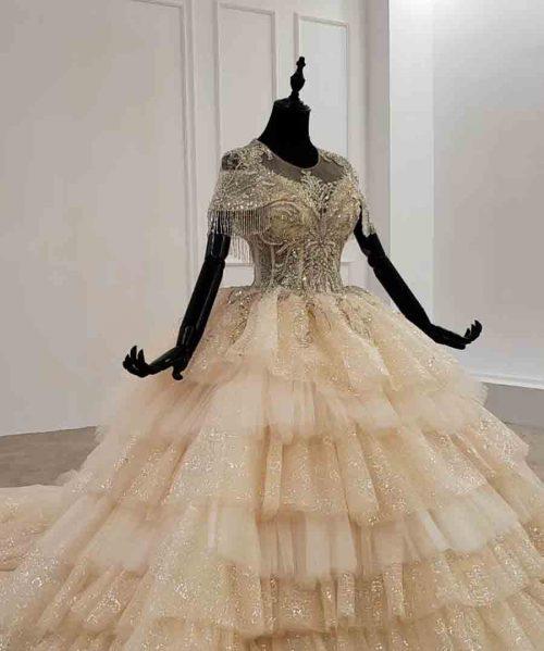 tassel cake pleat short sleeve dress