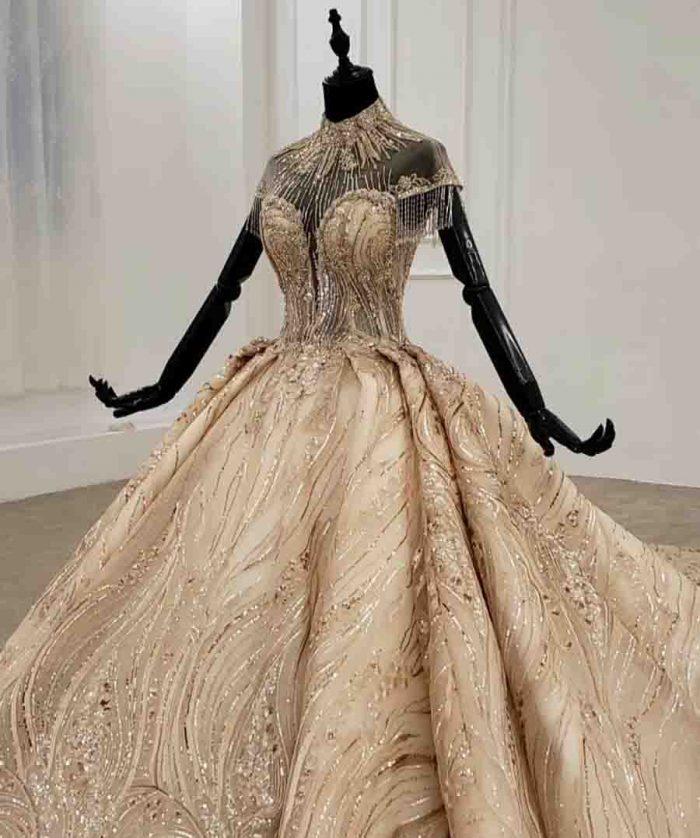 high neck cap sleeve vintage wedding dress