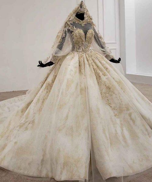 high neck appliques ball gown bride dress