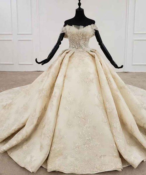 off the shoulder lace up back design wedding dress