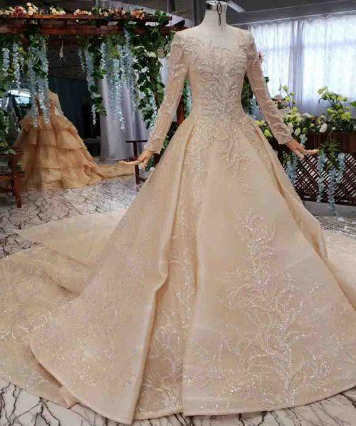 champagne simple wedding dress watteau train