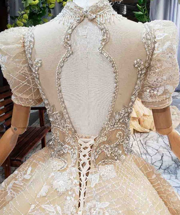 high neck puff short sleeve princess bridal dress wedding gown