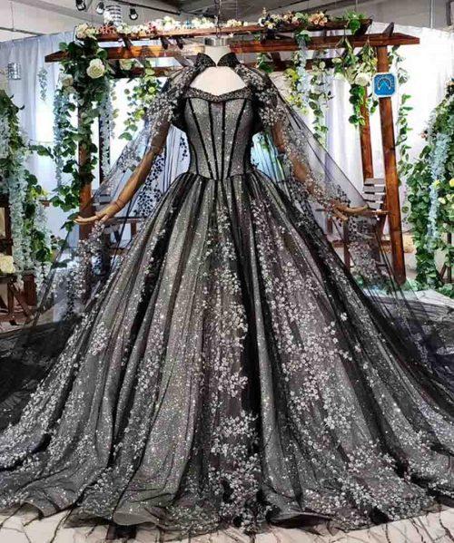 black formal dresses with cape lace appliques