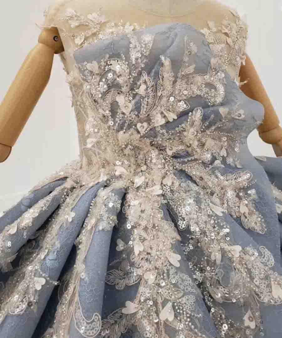 blue flower girl dress