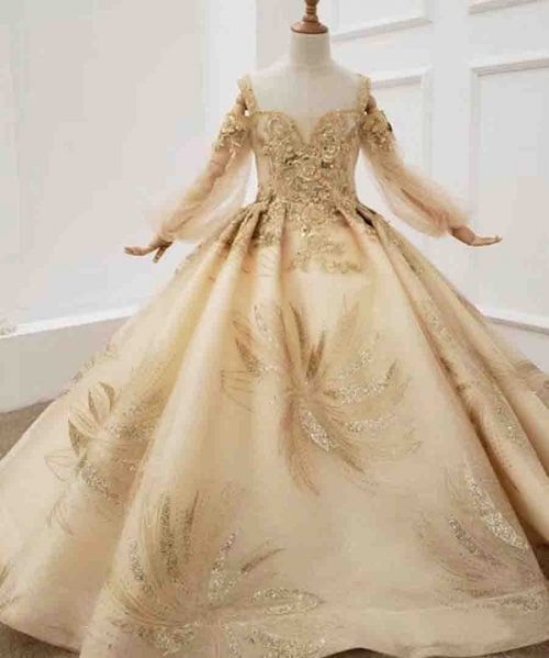 gold sweetheart long sleeve girl dress