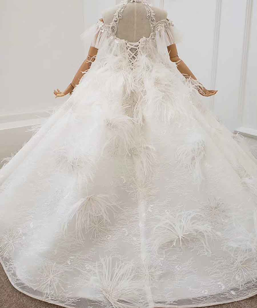 feather ivory special girl dress