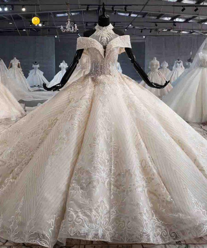 ball gown wedding dress luxury crystal high