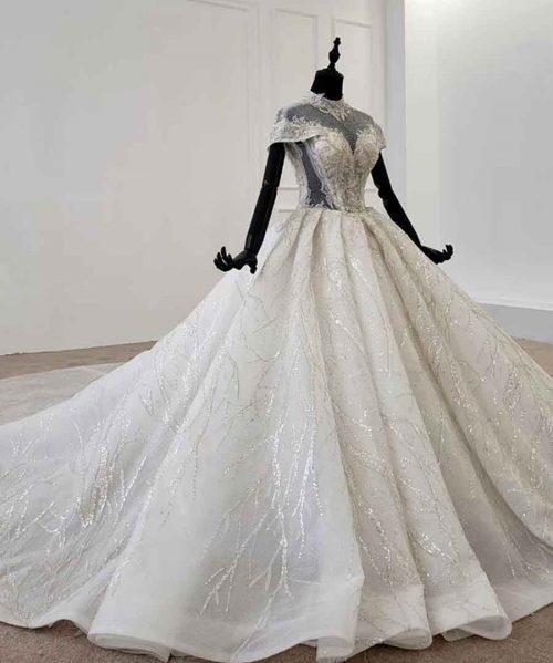 princess wedding dress high neck short