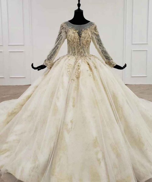 wedding dresses o-neck long sleeve