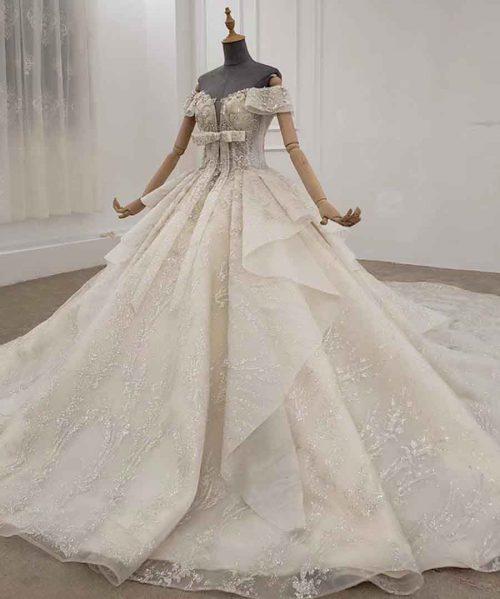 sparkly wedding dress off the shoulder