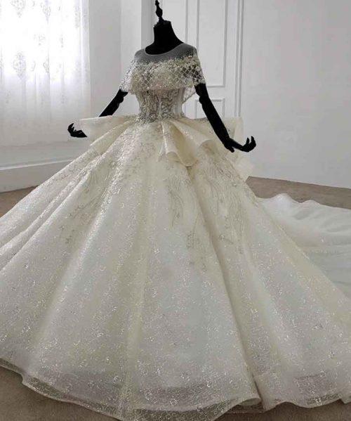 Peplum Vintage Wedding Dress Cloak