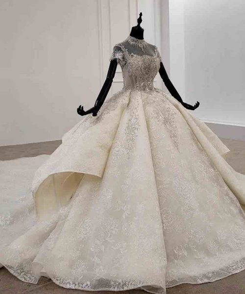spaghetti wedding dress high neck