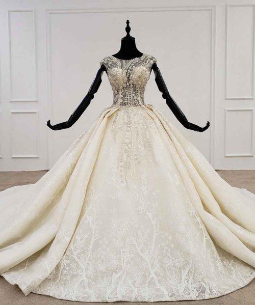 o-neck cape sleeve wedding dress