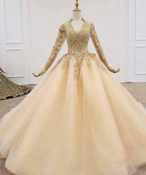 Luxury High Neck Sequin Gold