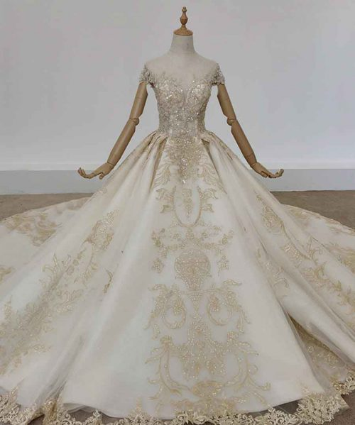 o-neck short sleeve wedding dress