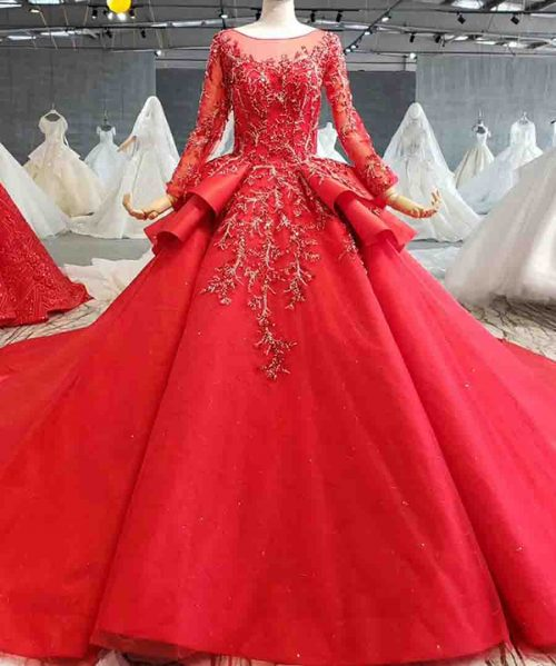 red long sleeve lace up evening dress