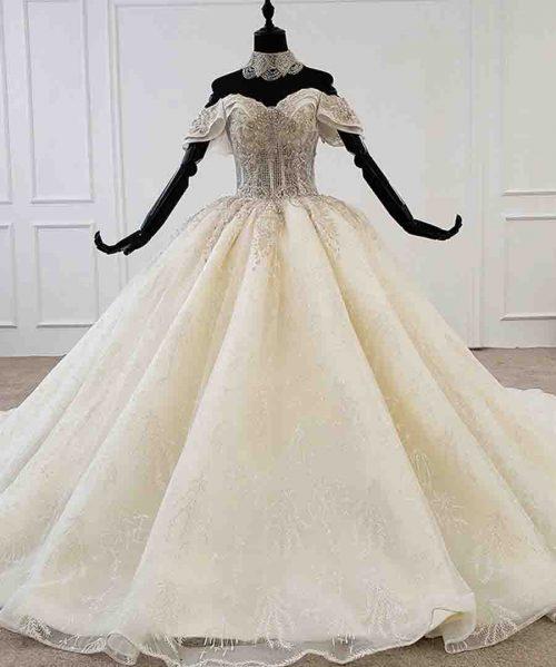 princess wedding dress off shoulder