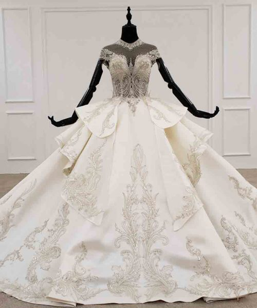 bohemian wedding dress high neck short sleeve