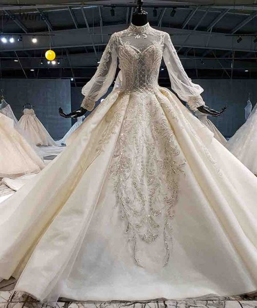 wedding dress boho high neck long sleeve