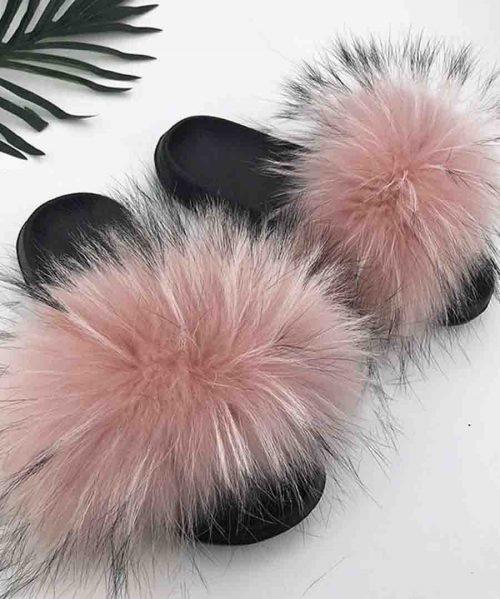 Fur Slippers Women Real Fox Fur Slides