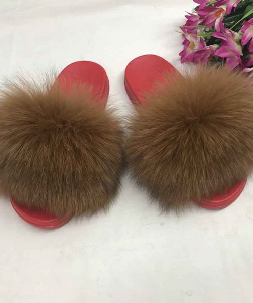 Hot Fur Slippers Women Fox Home Fluffy Sliders Comfort With Feathers