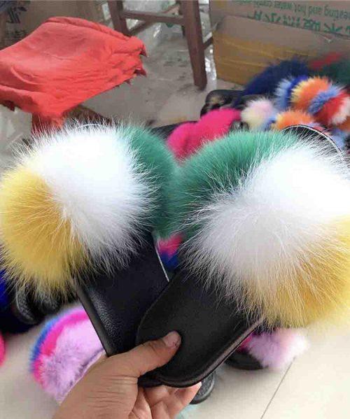 Woman Ladies Flip Flops With Fur Female Sandal Furry