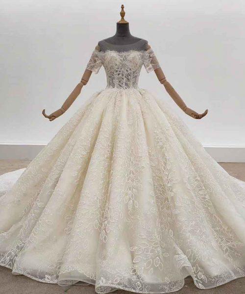 Off White Wedding Dress Flower Shape