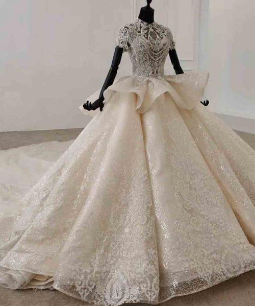 Wedding Dress Short Sleeves Lace Up