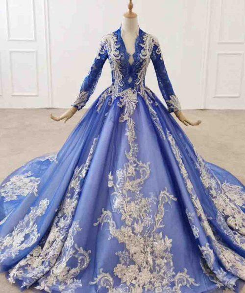 Blue long sleeve evening dress scalloped
